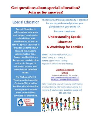 Understanding Special Education- A Virtual Workshop for Families