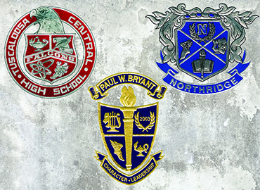 TCS high school logos for Central, Bryant and Northridge