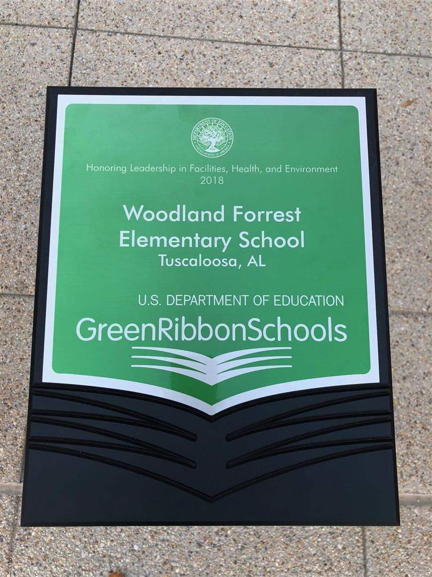 2018 U.S. Department of Education Green Ribbon plaque