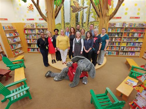 Big Al poses with TCS Librarians
