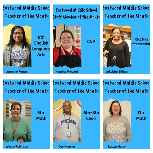 December Teachers &  Staff Member of the Month