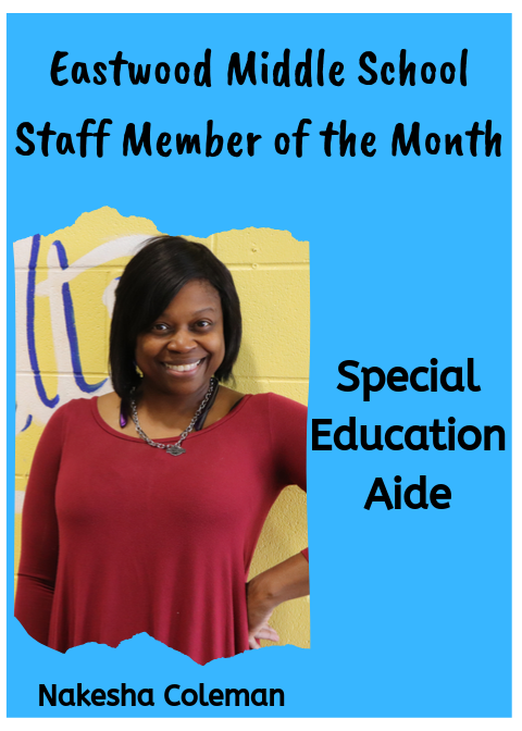 Mrs. Coleman, September Staff Member of the Month